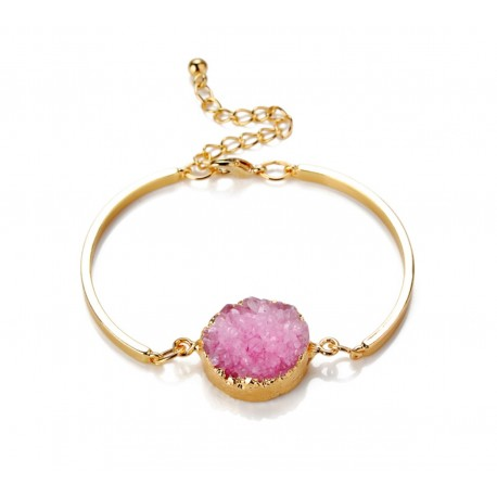 Bracelet Druzy rond rose plaqué Or 24K